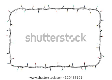 Christmas lights frame isolated on white background with copy space - stock photo