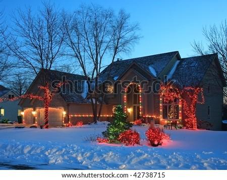 Christmas lights in Minnesota - stock photo