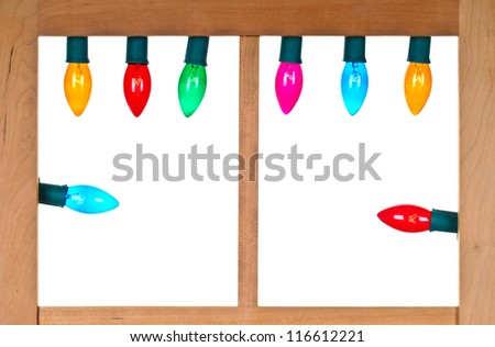 Christmas Lights in the Window - stock photo