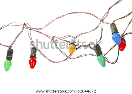 Christmas lights isolated on white - stock photo