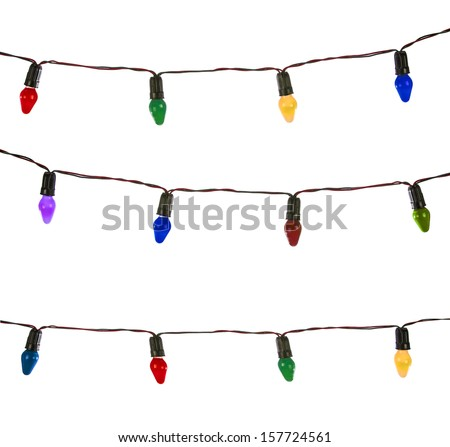 Christmas lights isolated on white, Vintage lights - stock photo