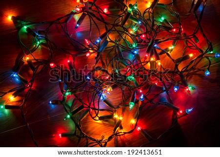 Christmas lights on a floor - stock photo