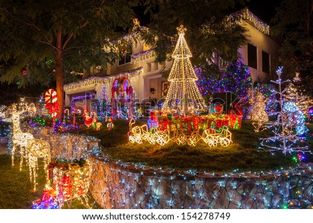Christmas lights on home in Southern California. - stock photo