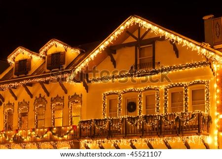Christmas lights on houses of Leavenworth bavarian village, Washington - stock photo