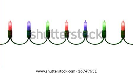 Christmas Lights on White - stock photo
