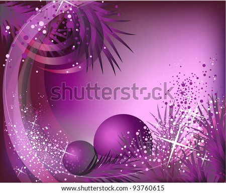 christmas lilac background with baubles,  fur branch and lights - stock photo