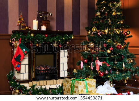 Christmas living room interior decoration, Christmas and New Year concept - stock photo
