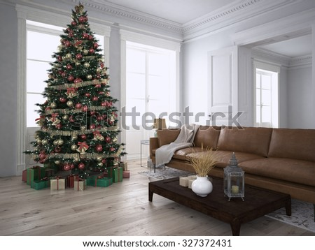 Christmas living room with a christmas tree. 3d rendering - stock photo