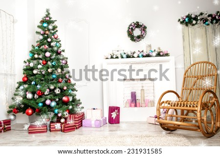Christmas living room with star - stock photo