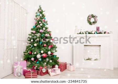Christmas living room with stars - stock photo