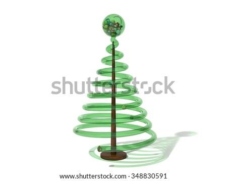 Christmas lottery tree. green glass version. - stock photo