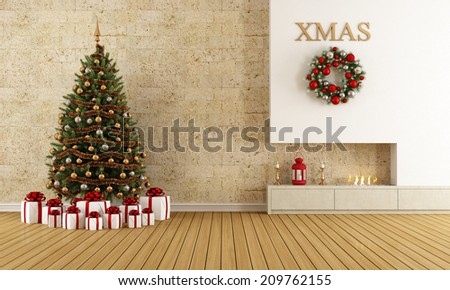Christmas lounge with fireplace and tree with gift - rendering - stock photo