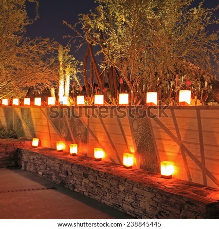 Christmas luminarias decorate a tiered wall structure in a cactus garden at night. - stock photo