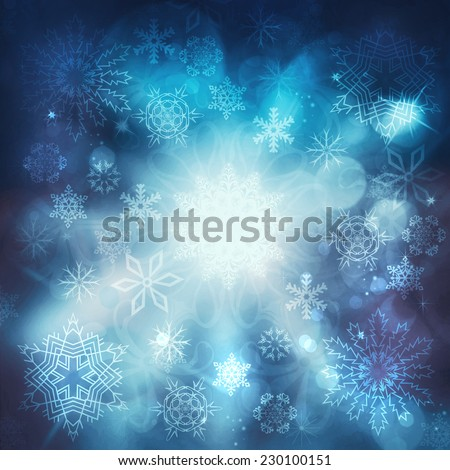Christmas luxury blue background with snowflakes - stock photo