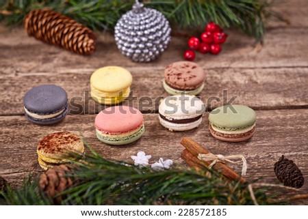 Christmas macarons - stock photo