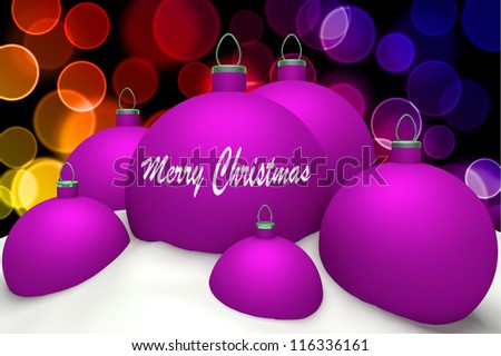 Christmas magenta balls with mark Merry Christmas in snow on color bokeh background 3d concept