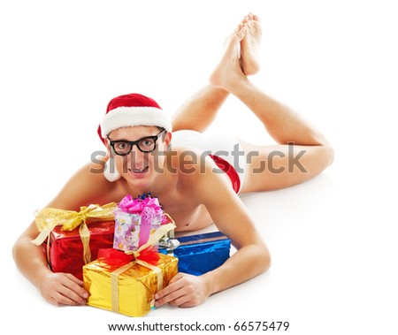 Christmas man laughs and holds gifts.  Isolated on white