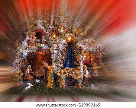 Christmas Manger Scene with figurines and postproduction effects.