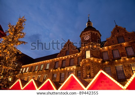 Christmas market and Altstadt town hall in Dusseldorf - stock photo
