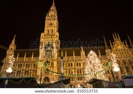 Christmas Market at Marienplatz in Munich with the town hall. - stock photo