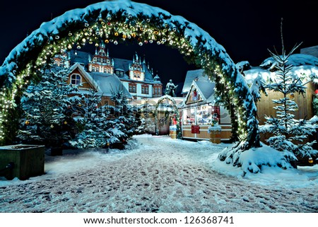 Christmas market by night in Coburg, Germany - stock photo
