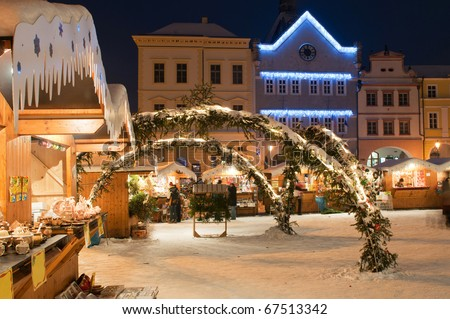 Christmas market during the nighttime, Litomerice, Czech Republic. - stock photo