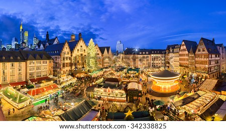 Christmas market in Frankfurt, Germany at night