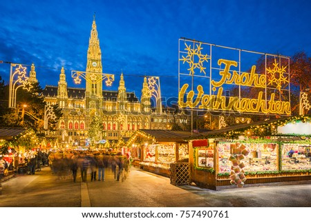 Christmas market in front of the City Hall in Vienna, Austria