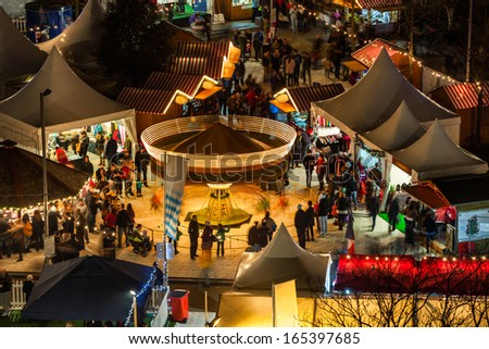 Christmas market in Galway, detail, view from high point. - stock photo