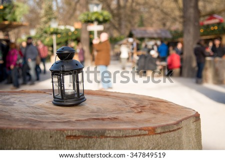 Christmas market in Munich, Germany - copy space - stock photo