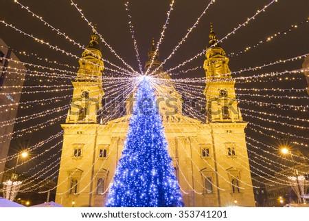 Christmas market in St. Stephen's Basilica Square, Budapest, Hungary  - stock photo