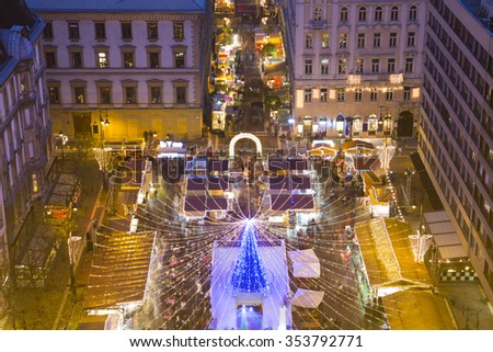 Christmas market in St. Stephen Square, Budapest, Hungary