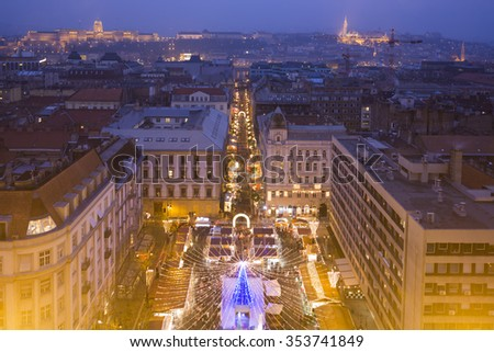 Christmas market in St. Stephen Square, Budapest, Hungary - View From St. Stephen's Basilica  - stock photo