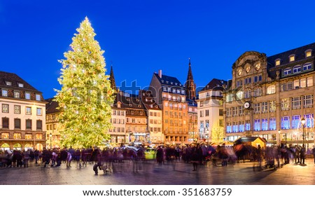 Christmas market in Strasbourg, France at night - stock photo
