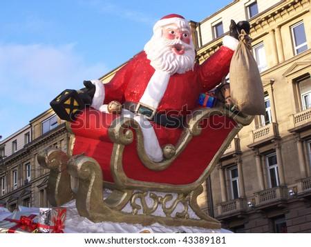 Christmas market in Stuttgart, with Santa Claus - stock photo
