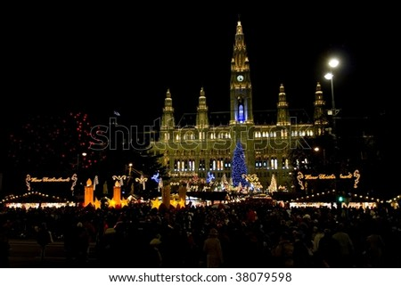 Christmas market in Vienna, Austria - stock photo