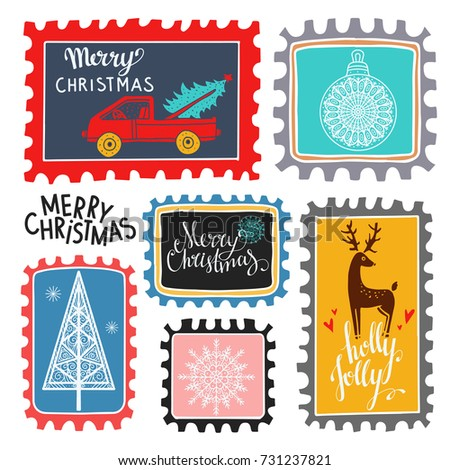 Christmas marks. Icons, symbols, signs. Isolated on white background set. Merry Christmas, Holly jolly text, handwritten. Hand drawn cartoon tree, snowflakes, deer, ball, car, hearts