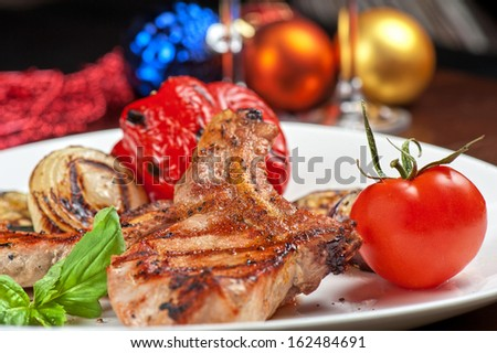 Christmas meat with vegetable for Holiday dinner