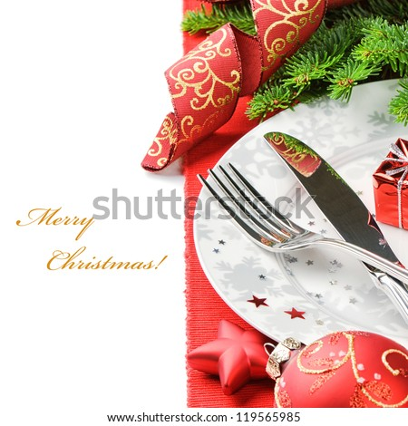 Christmas menu concept isolated over white with copyspace - stock photo