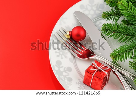 Christmas menu concept on red background - stock photo