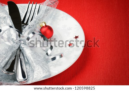 Christmas menu concept on red background with copyspace - stock photo
