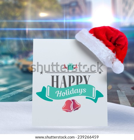 Christmas message against blurred new york street - stock photo