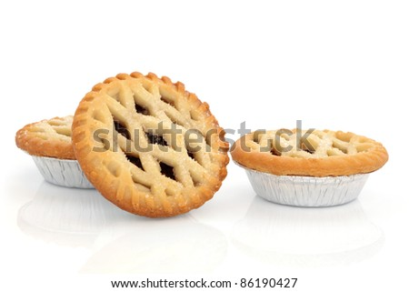 Christmas mince pie group isolated over white background. - stock photo