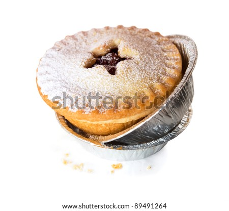 Christmas Mince Pie with star isolated on white background with shadow - stock photo