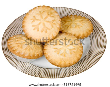 Christmas Mince Pies On a Plate Against a White Background