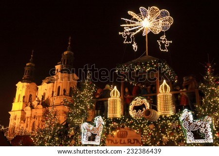 Christmas Mood on the Old Town Square, Prague, Czech Republic - stock photo