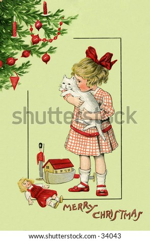 Christmas Morning - an early 1900s vintage greeting card illustration. - stock photo