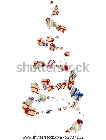 Christmas motive, spiral tree on white - stock photo