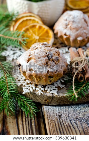Christmas muffins with candied fruit - stock photo