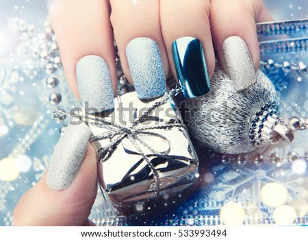 Christmas nail art manicure idea winter stock photo 533993494 christmas nail art manicure idea winter holiday style bright manicure design christmas decorations prinsesfo Gallery